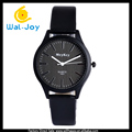 WJ-5379 leather black strap vogue multicolor stainless steel back men wrist watch