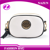 Strong Metal White PU Leather Shoulder Bags korea fashion ladies handbag