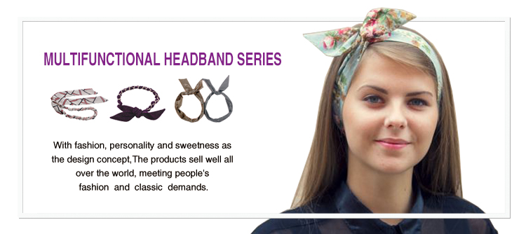 Fashion bunny ear headband girls multifunction wire headband