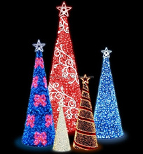 Artificial hot sell outdoor spiral led garland wholesale artificial christmas tree