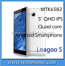New Original Leagoo Lead 5 Mobile Phone 5.0 inch IPS Screen Android 4.4 MTK6582 Quad Core 1gb RAM 8GB ROM White Black
