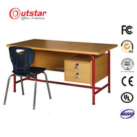 Oustar Hot-selling KD Structure Office Desk or School Writing Table/Desk with Metal Frame MDF Board
