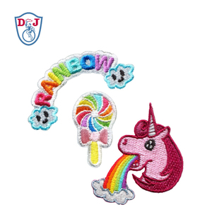 3pcs set Rainbow Unicorn Lollipop Self-Adhesive Embroidery Patches Embroidered design