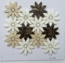 Popular Stone mosaic flower shape two colors mixed