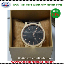 2016 wooden watch with custom logo with genuine leather strap band BW0009