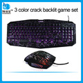 Adjustable Led crack backlit gaming keyboard mouse_seven color backlit