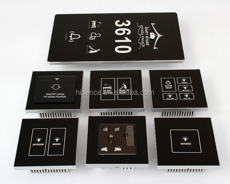 Customized Tempered Glass Hotel Touch DND Switch With Different Colors for Choice
