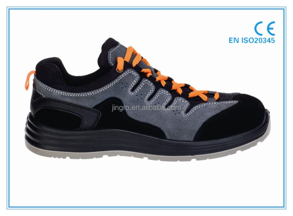 good quality suede leather upper dual density pu outsole blue hammer safety shoes