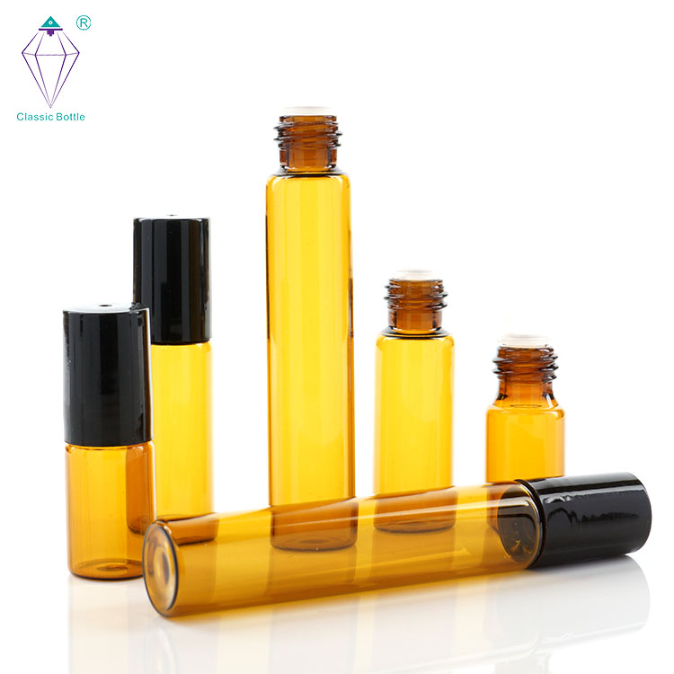 Clear Glass Ball Bottle 10ml Aromatherapy Glass Roll on Bottles with Plastic Cap