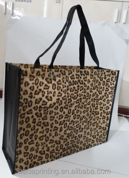 hot sale Fashional Leopard printed laminated tote bag .customized handle cross stitch shopping bag from wenzhou factory