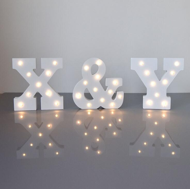 Decorative White Wooden Led Letters <strong>Sign</strong> LED Numbers Valentine Romance Atmosphere Letter Light