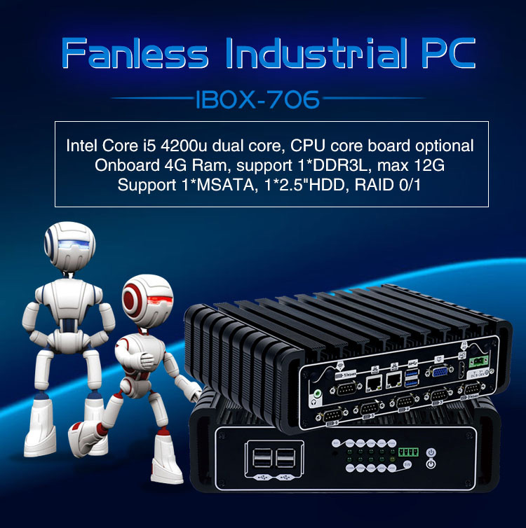 DC 9~36V wide voltage IBOX-706 embedded X86 industrial pc i5 fanless dual lan