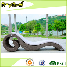 Wave shape outdoor pool furniture aluminium hand woven rattan beach lounger