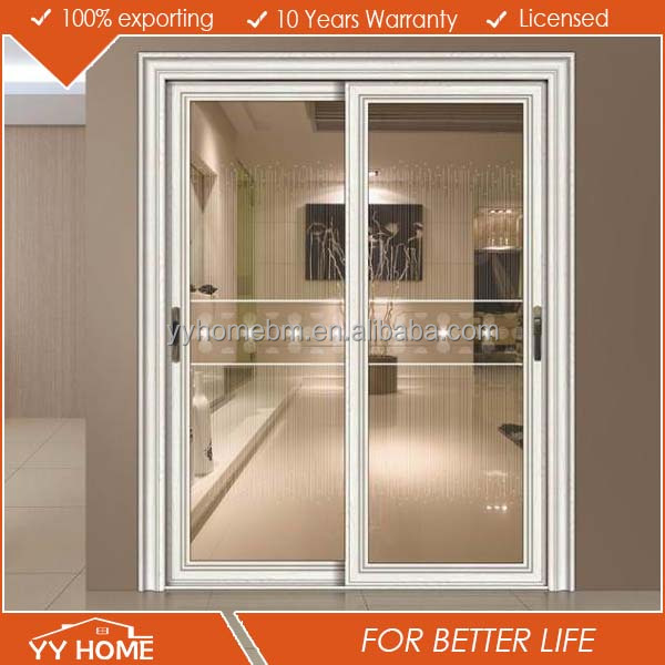 YY home l aluminium sliding door hardware double tempered glazed lowes sliding screen door AS 2047 bathroom sliding glass door