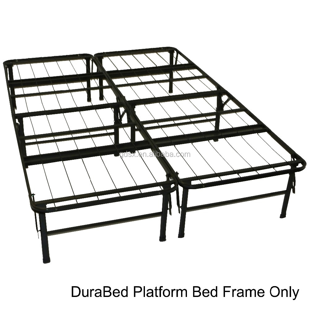 Durable Bed Full Size Steel Foldable Platform Bed Brackts, Powder Coated Black