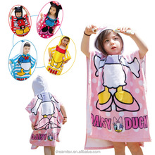 Baby high quality 100% cotton kids hooded bath towels cartoon cute cotton towel