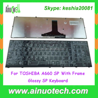 Brand new Spanish laptop keybord for TOSHIBA SATELLITE A660 A600D A665 P750 with Frame Glossy SP keyboard replacement