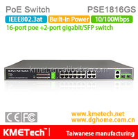 16 port 10/100Mbps PoE+2giabit/SFP port Switch PSE1816GS Support OEM 30W 802.3at for surveillance IP camera hot