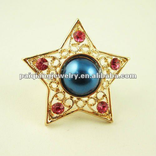 Star shaped women jewelry ring with big pearl center