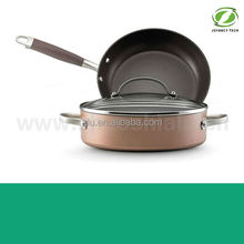 3pcs Gold Aluminum Non-stick Pressed Induction Cookware Set with Frying Egg Pizza Pan and Sauce Stock Cooking Pasta Pot Included