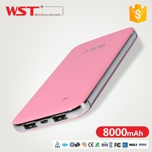 2017 Smooth touch switch dual output high quality 8000mAh power bank,portable cell phone charger,shenzhen battery powerbank