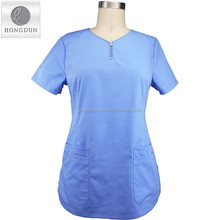Wholesale medical scrubs Nurse Hospital uniform scrubs unifrom with zipper at front