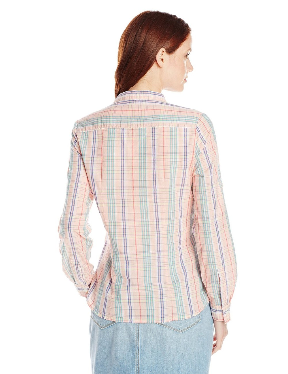 Chest pockets checked Slightly fitted mini stand collar 100 cotton blouse/shirt