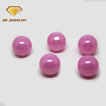 Hot sale wuzhou ball shape pink milky cubic zirconia pave beads