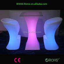 square or round top led cocktail table/illuminated bar table