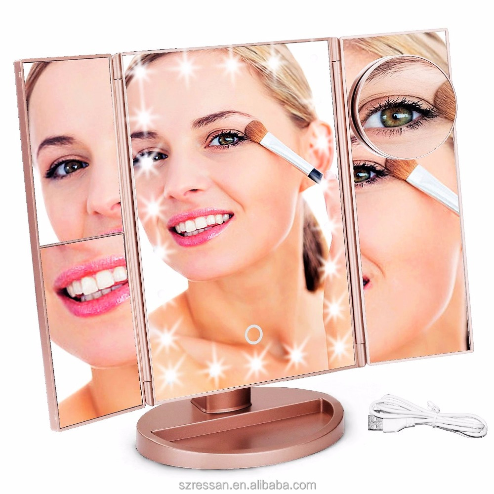 Amazon Hot Selling Led Makeup Mirror 2x 3x Professional Lighted Cosmetic Trifold Mirror with Led Lights
