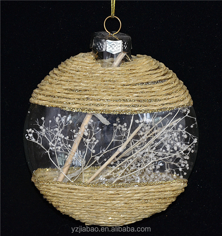 New design christmas ornament on sale, 10cm pie-shaped glass with decorative straw knit as christmas country home decor