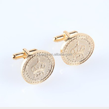 gold plated round shape metal cuff link