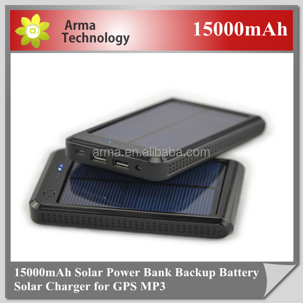 Solar Charger 2W 15000mAh Portable Solar Battery Charger Solar Power Usb Bank for Iphone/ Ipad/ HTC/ Samsung/ Blackberry