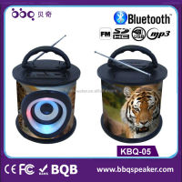 bamboo basket shape with tiger photo and other animal fm radio mp3 player bluetooth speaker