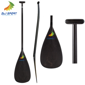 ZJ SPORT Durable Bent Shaft 3K Carbon Outrigger Canoe Paddle