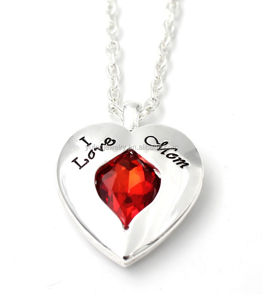 "Mother's Day Gifts ""I Love Mom"" Word Engraved love Heart Pendant Necklace"