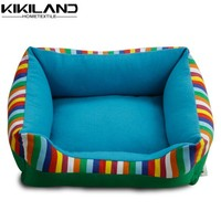 Rectangle blue fleece canvas printing pet product stripe pattern dog beds