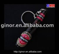 Bottle-shaped Logo Keychain/projector keychain light/led projector torch