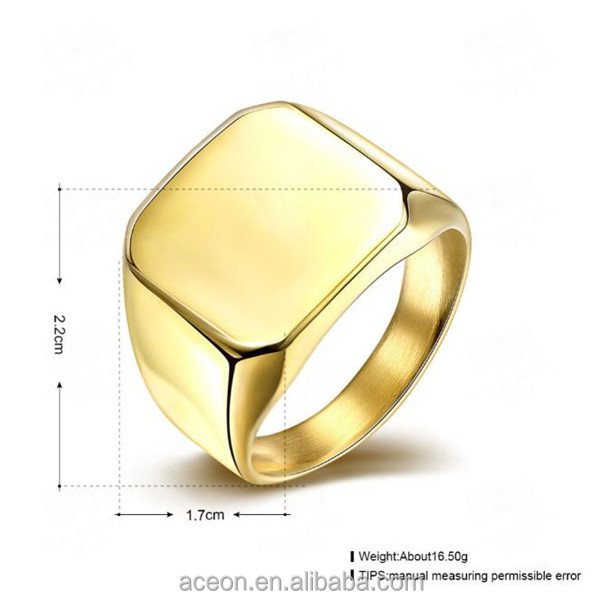 Yiwu Aceon Stainless Steel Gold Blank Signet Design Saudi Gold Ring