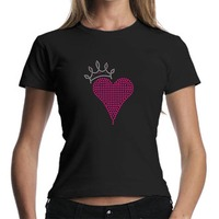 Rhinestone pink heart girls stylish t-shirt designs