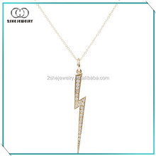 Exquisite Clear CZ Silver Lightning Flash Necklace