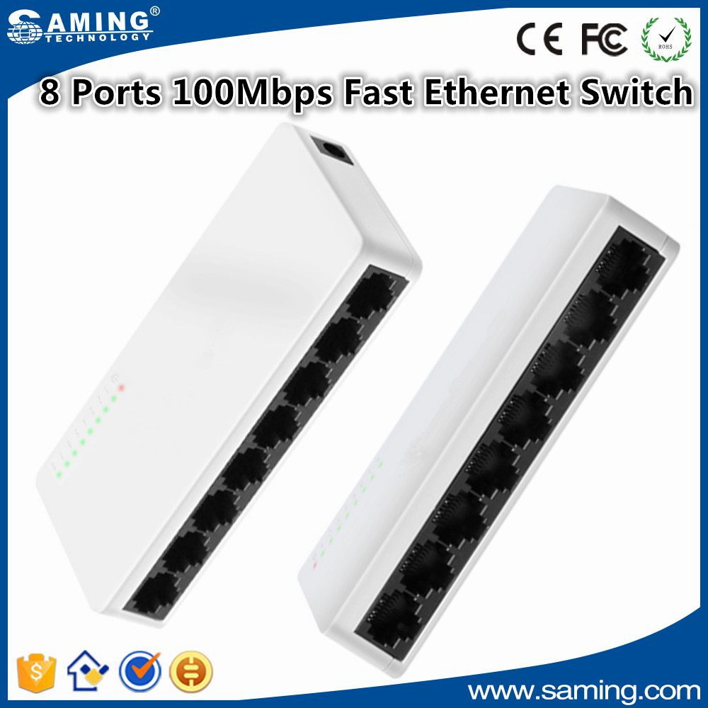 mini Network Switch 8 Ports 100Mbps Fast Ethernet Switch RJ45 LAN Hub MDI Full Half duplex + AC Prower Supply EU US Plug