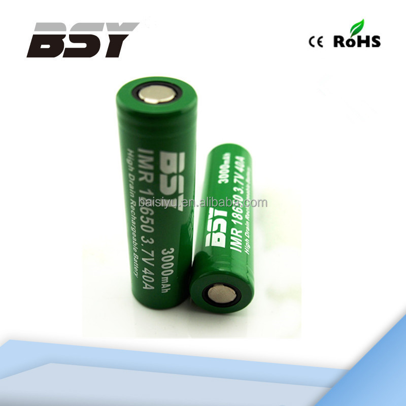rechargeable battery BSY 18650 3000mAh battery rechargeable imr/INR/ICR 18650 li-ion battery