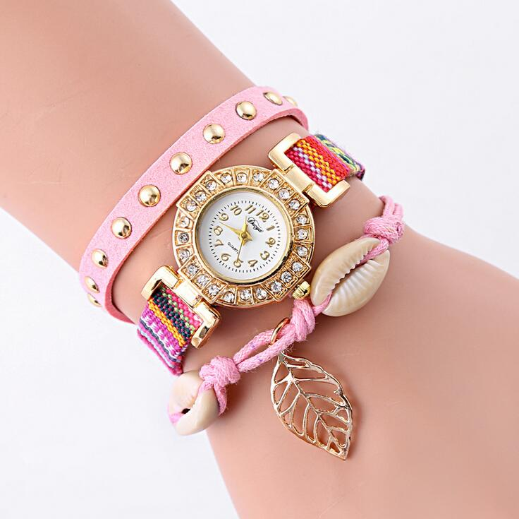 new arrival classic colorful leaf bracelet unique watch ladies in style
