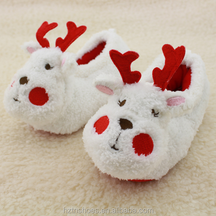 Christmas Gift, White Plush <strong>Slippers</strong> Reindeer Animal soft sole <strong>slippers</strong> child winter warm <strong>slippers</strong>