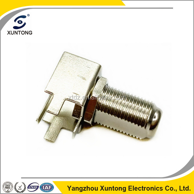 Xuntong RF Coaxial Connector F Female Right Angle PCB Mount