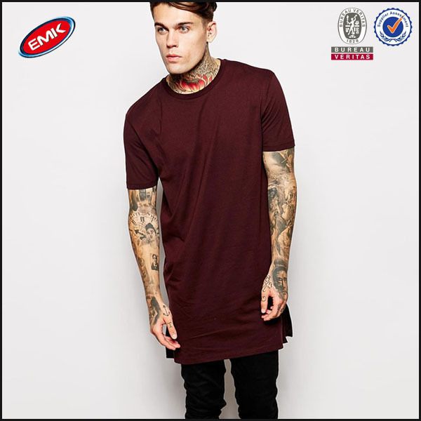 Wholesale Plain Long Line T Shirt Men with Side Zipper Made in China