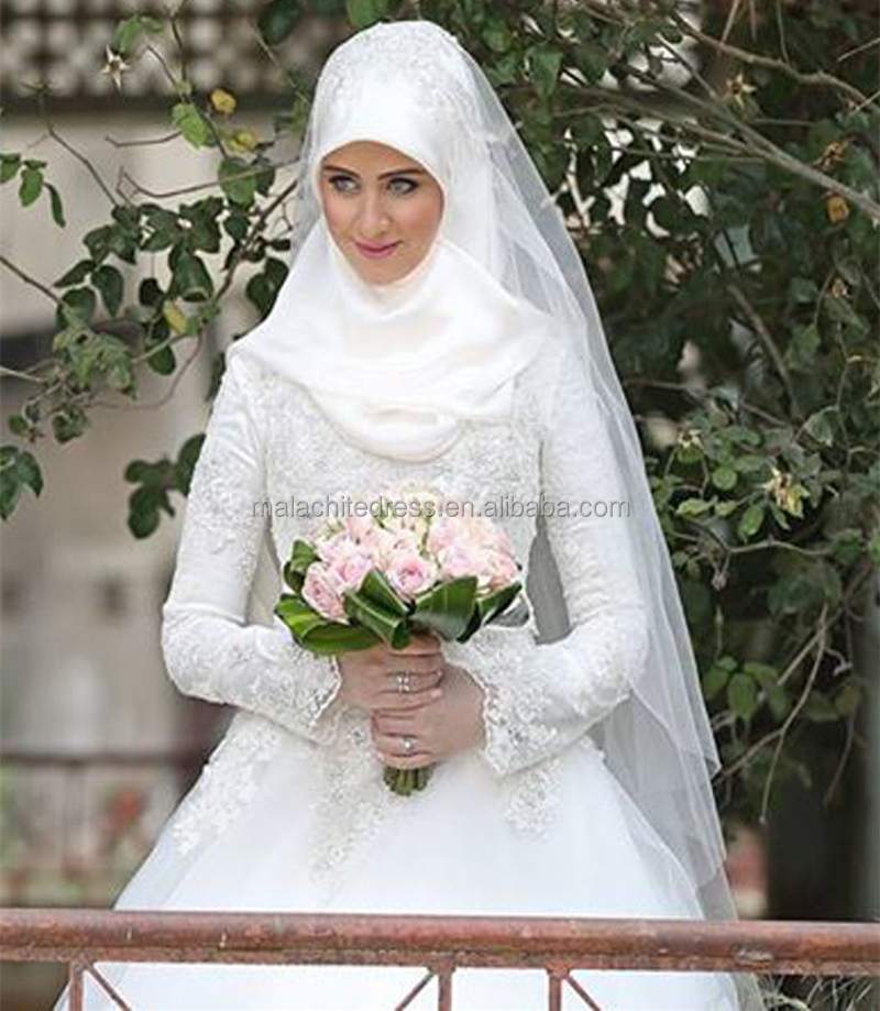 2017 High Quality Arabic Wedding Gown Long Sleeve Muslim Wedding Dress
