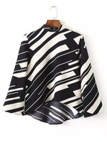 Blouses Tops fashion women christmas latest design Black White Stand Collar Striped Crop Blouse