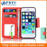 Set Screen Protector Stylus And Case For Iphone 5 , Green Leather Wallet Phone Case